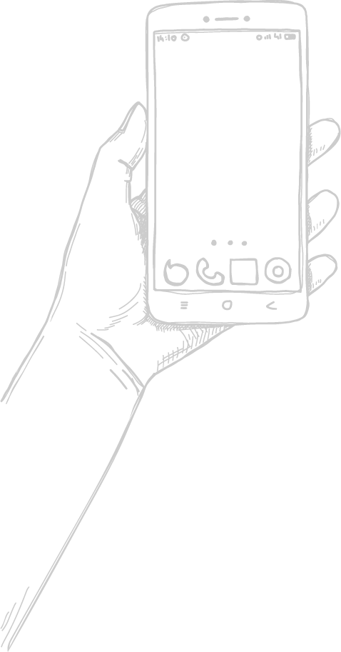 Mobile phone line art